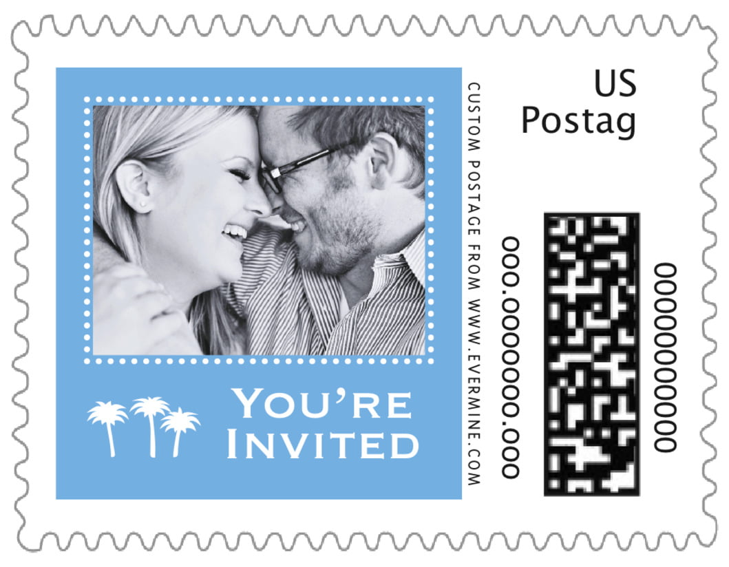small custom postage stamps - blue - tiny charms (set of 20)