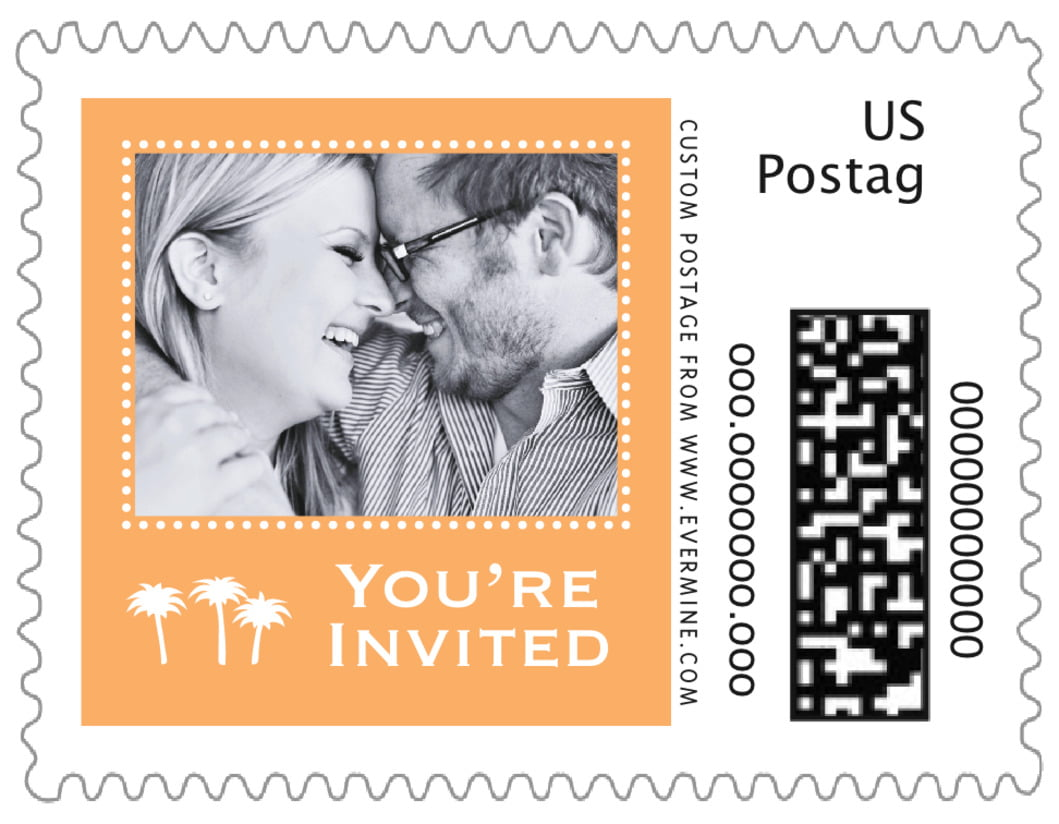 small custom postage stamps - tangerine - tiny charms (set of 20)
