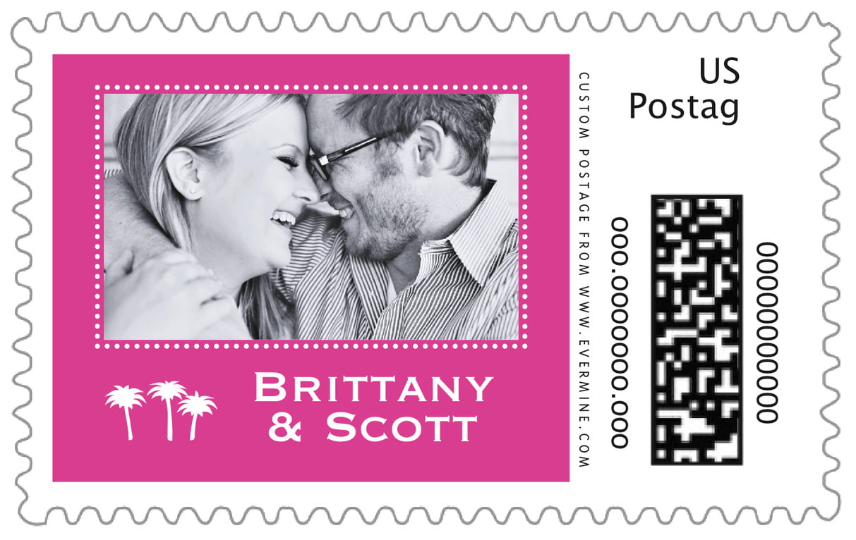 custom large postage stamps - bright pink - tiny charms (set of 20)