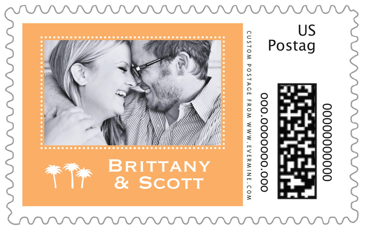 custom large postage stamps - tangerine - tiny charms (set of 20)