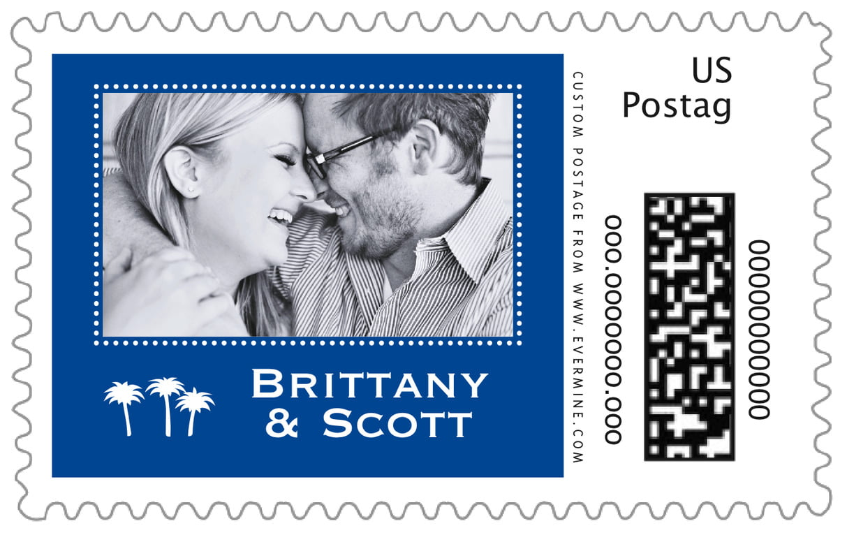 custom large postage stamps - deep blue - tiny charms (set of 20)