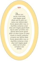 Tiny Hearts oval text labels