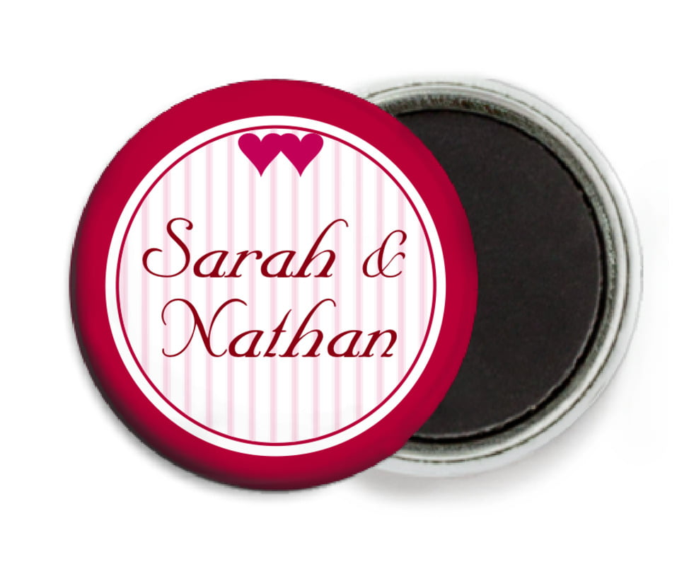 custom button magnets - deep red - tiny hearts (set of 6)