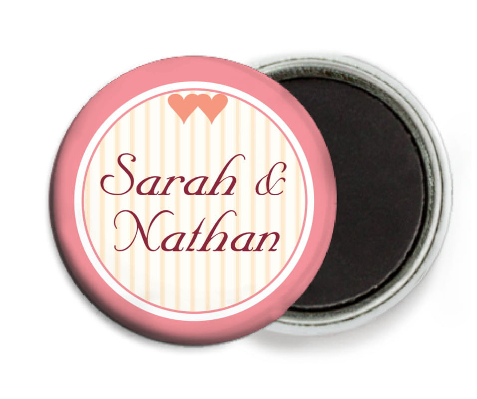 custom button magnets - grapefruit - tiny hearts (set of 6)