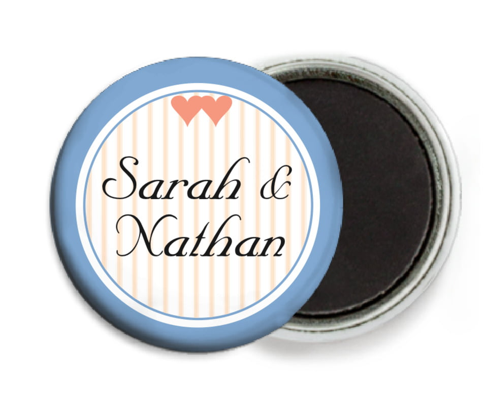 custom button magnets - blue - tiny hearts (set of 6)