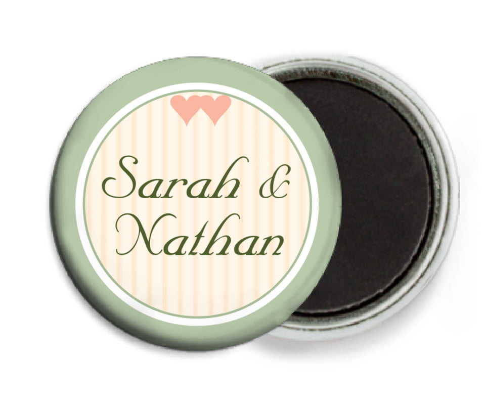 custom button magnets - sage - tiny hearts (set of 6)