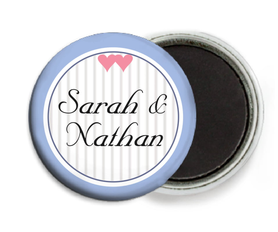 custom button magnets - periwinkle - tiny hearts (set of 6)
