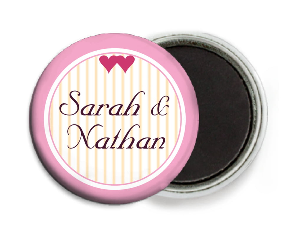 custom button magnets - pale pink - tiny hearts (set of 6)