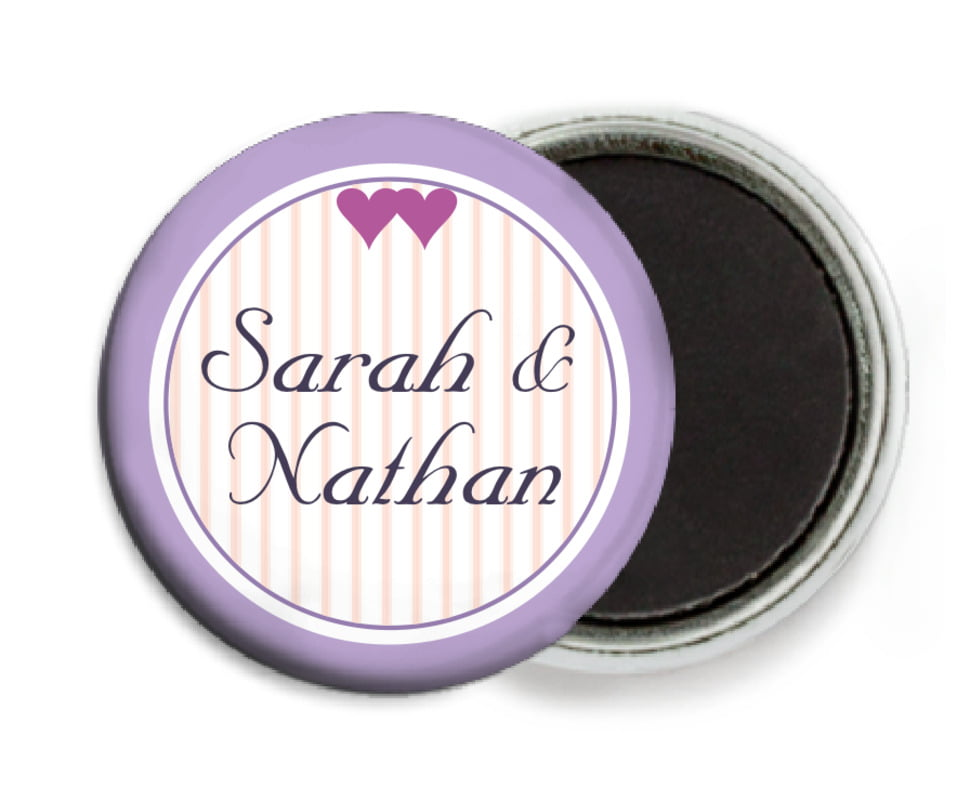 custom button magnets - lilac - tiny hearts (set of 6)