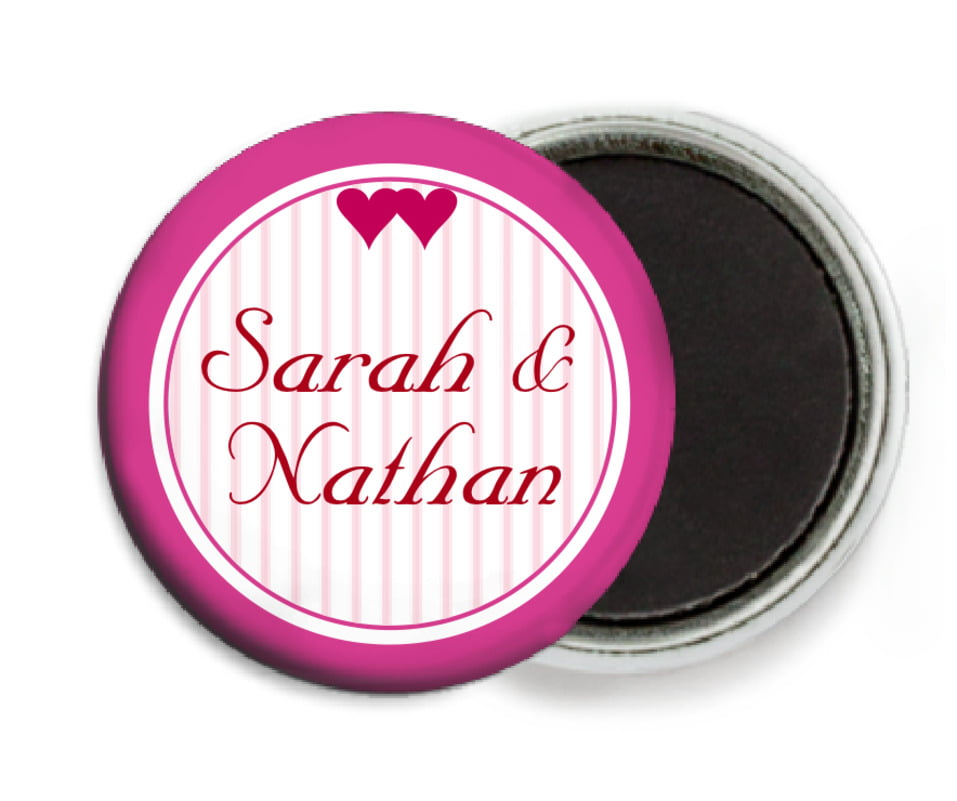custom button magnets - bright pink - tiny hearts (set of 6)