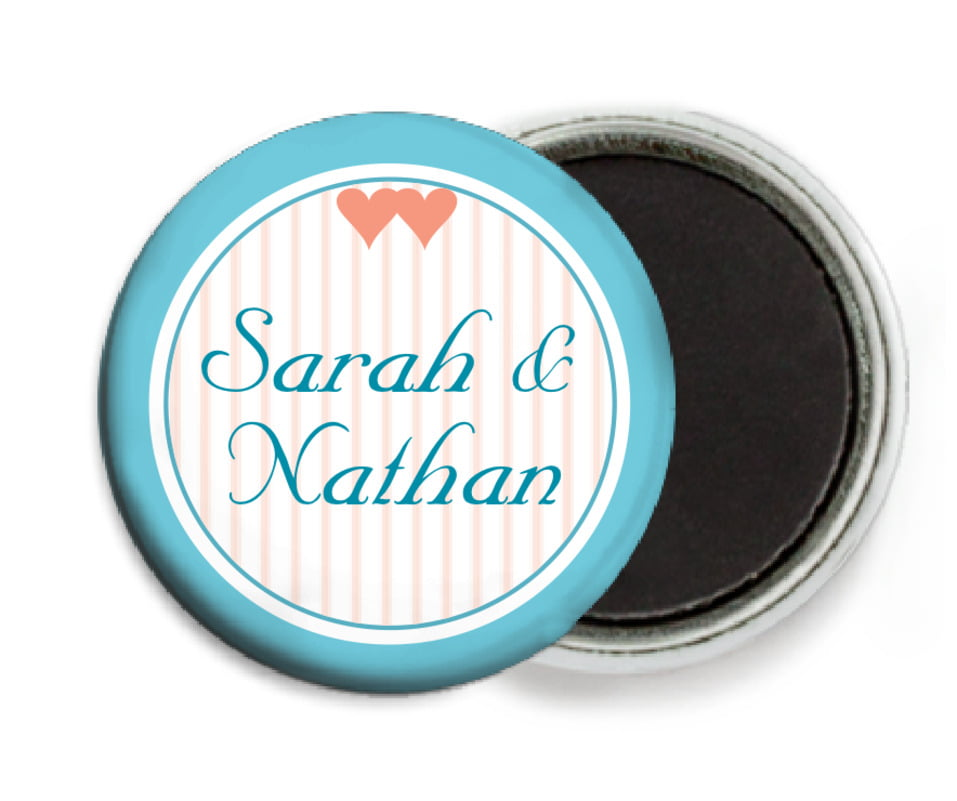 custom button magnets - bahama blue - tiny hearts (set of 6)