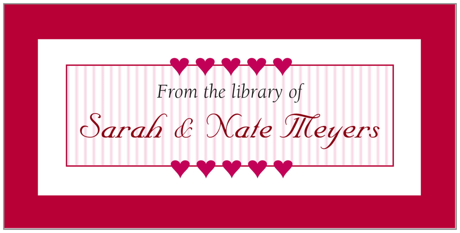 bookplates - deep red - tiny hearts (set of 24)