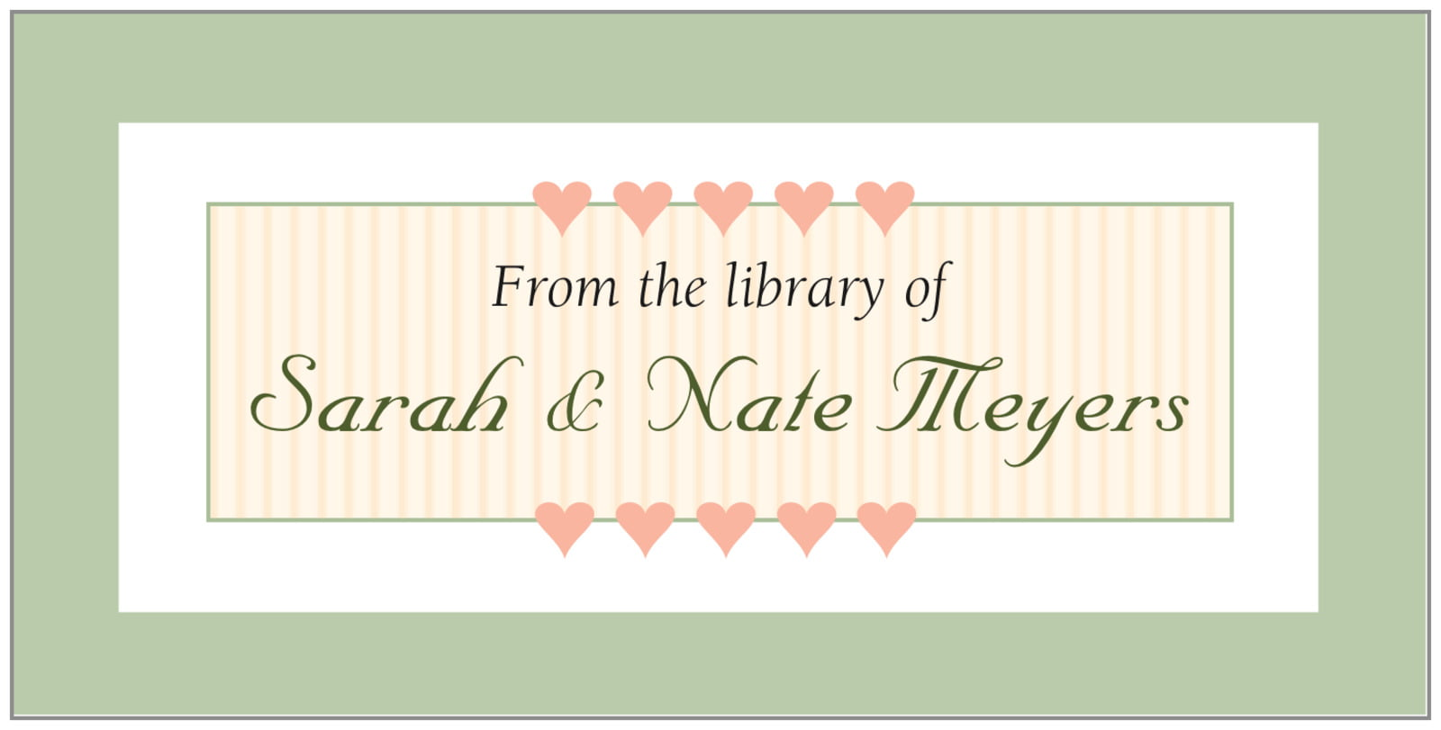 bookplates - sage - tiny hearts (set of 24)