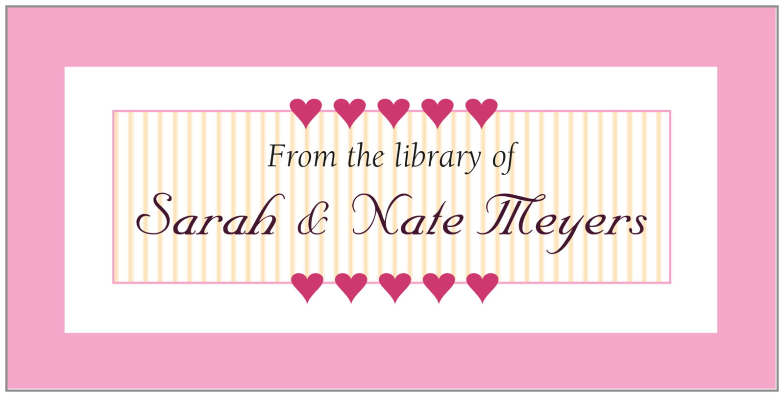 bookplates - pale pink - tiny hearts (set of 24)