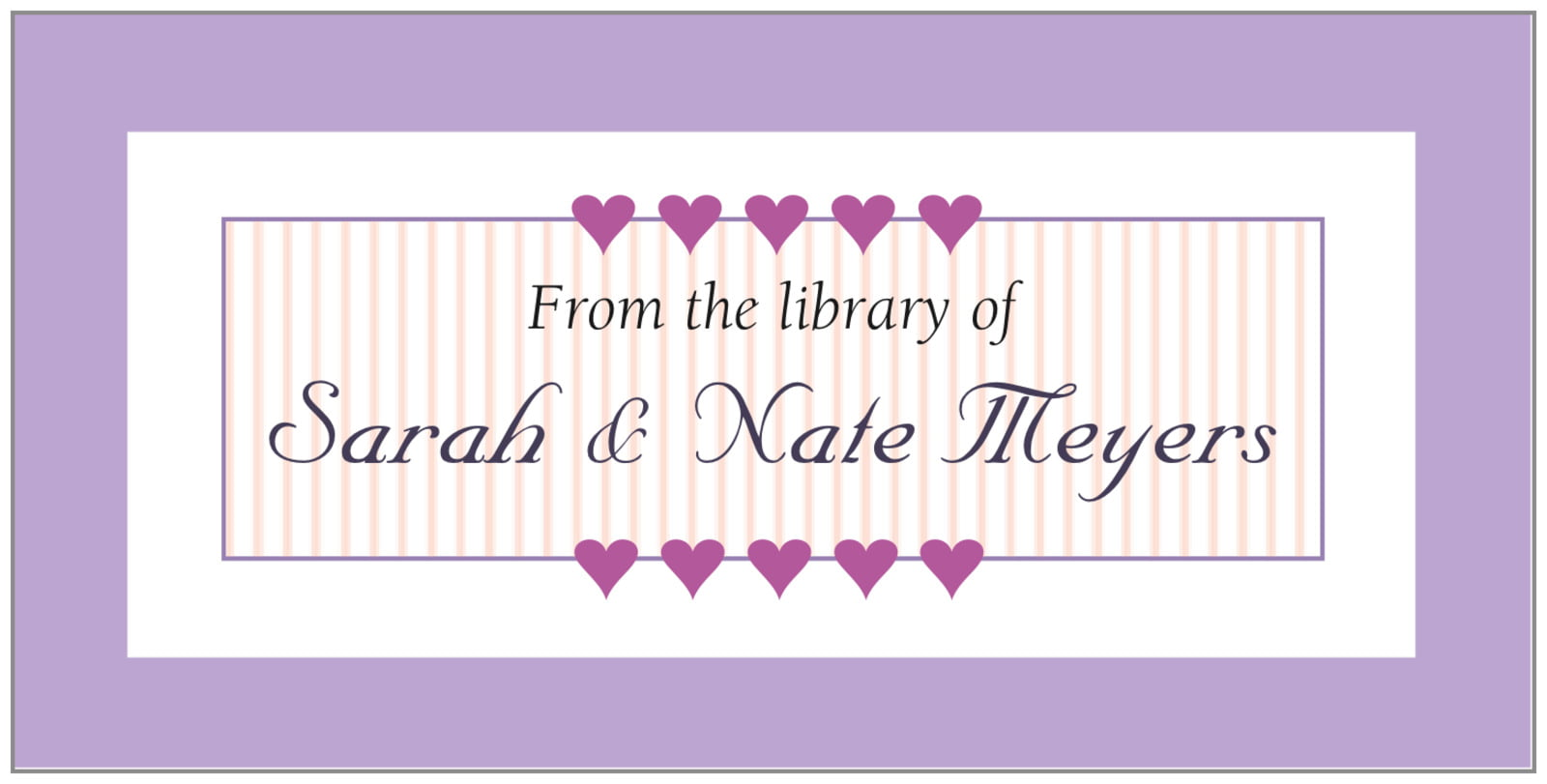 bookplates - lilac - tiny hearts (set of 24)