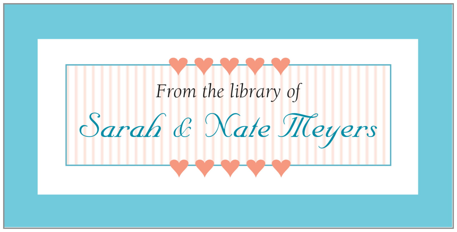bookplates - bahama blue - tiny hearts (set of 24)