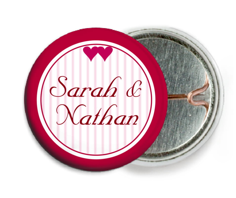 custom pin back buttons - deep red - tiny hearts (set of 6)