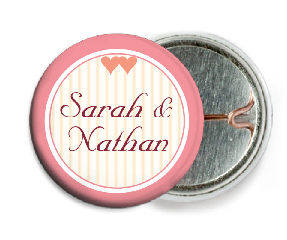 custom pin back buttons - grapefruit - tiny hearts (set of 6)