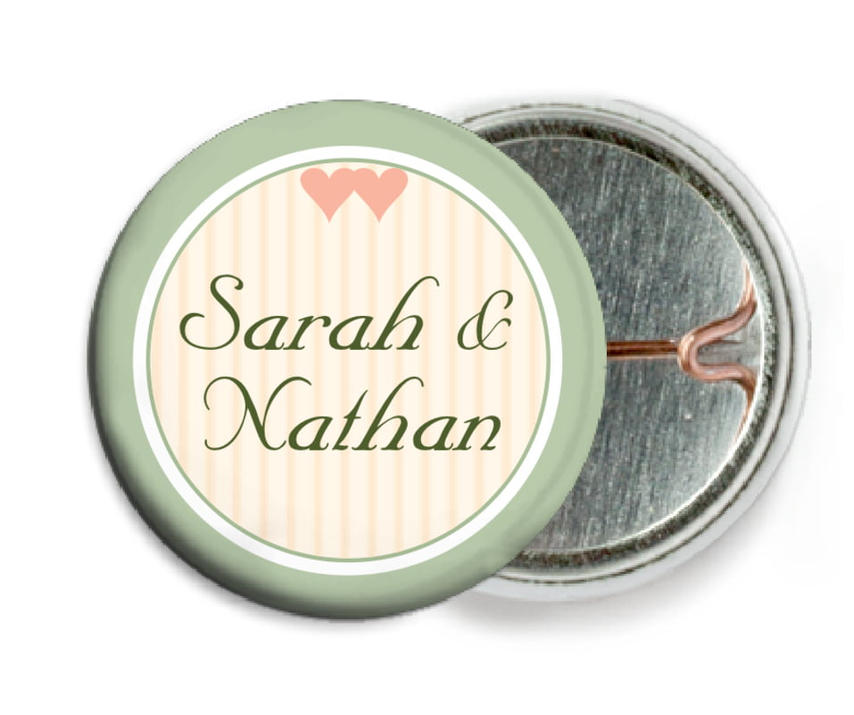 custom pin back buttons - sage - tiny hearts (set of 6)
