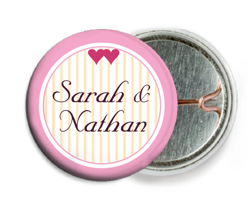 custom pin back buttons - pale pink - tiny hearts (set of 6)