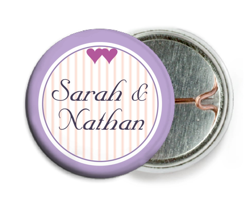 custom pin back buttons - lilac - tiny hearts (set of 6)