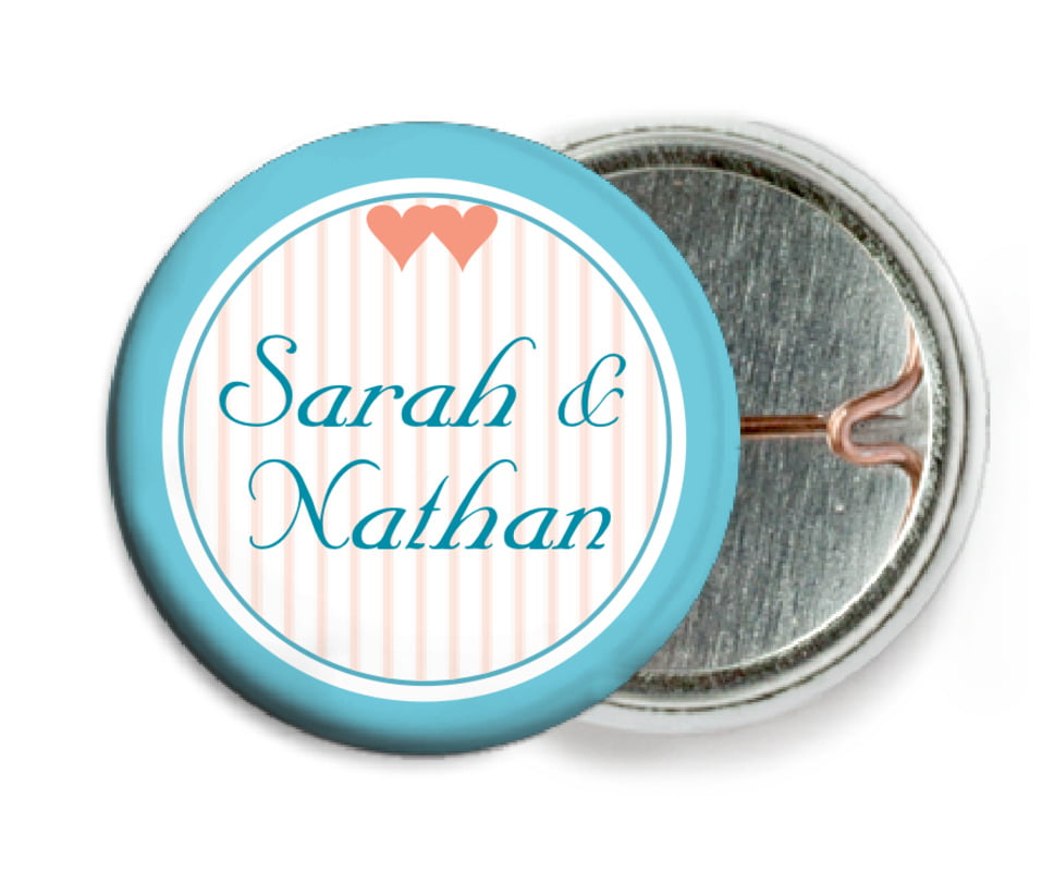 custom pin back buttons - bahama blue - tiny hearts (set of 6)
