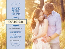 custom save-the-date cards - blue - treasury (set of 10)