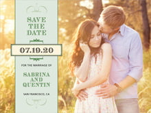 custom save-the-date cards - sage - treasury (set of 10)