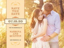 custom save-the-date cards - tangerine - treasury (set of 10)