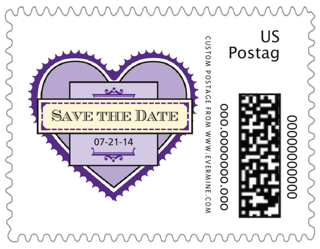 small custom postage stamps - plum - treasury (set of 20)