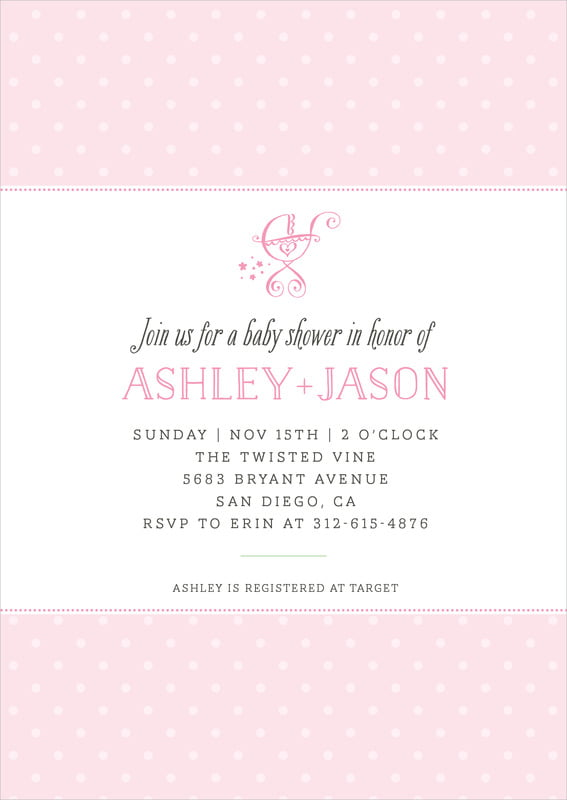 baby shower invitations - pink - twinkle twinkle (set of 10)