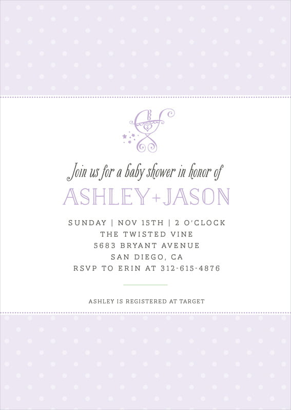 baby shower invitations - lilac - twinkle twinkle (set of 10)