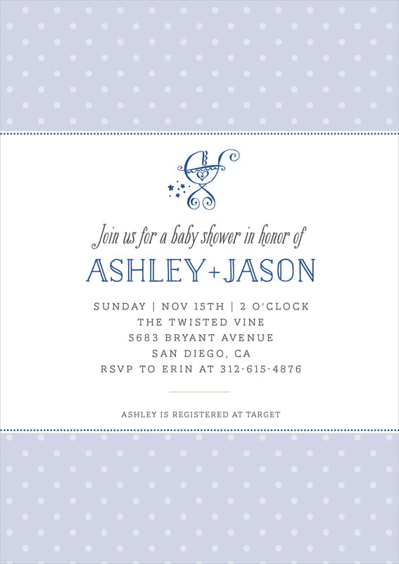baby shower invitations - deep blue - twinkle twinkle (set of 10)