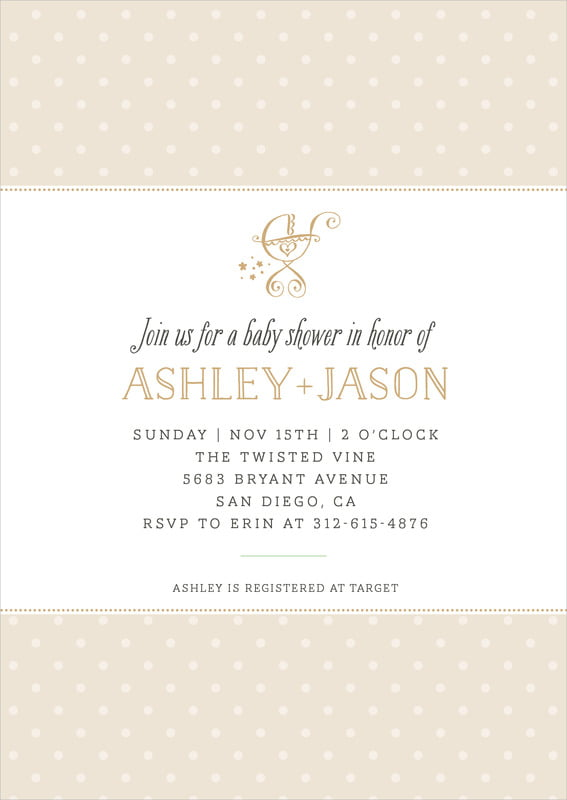 baby shower invitations - cappuccino - twinkle twinkle (set of 10)