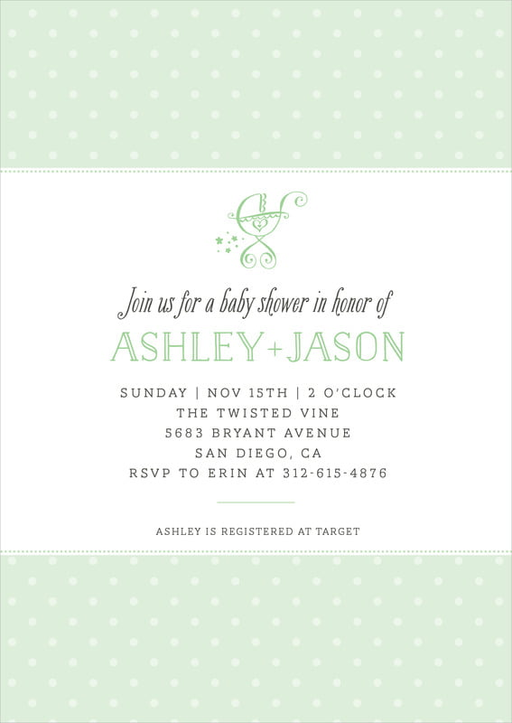 baby shower invitations - mint - twinkle twinkle (set of 10)