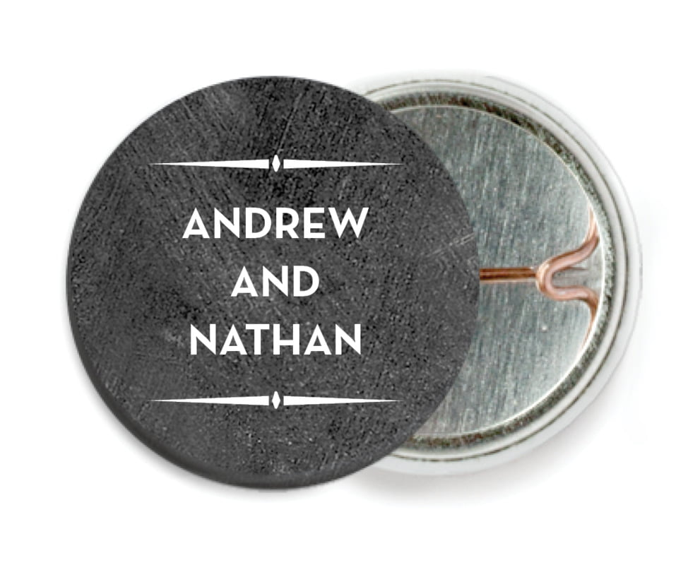 custom pin back buttons - chalkboard tuxedo - tuxedo formal (set of 6)