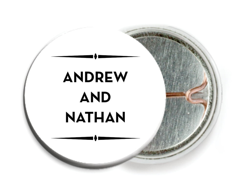 custom pin back buttons - tuxedo - tuxedo formal (set of 6)