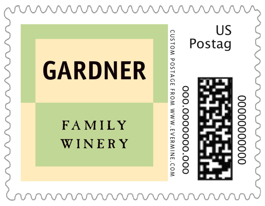 small custom postage stamps - green, gold & black - urban (set of 20)