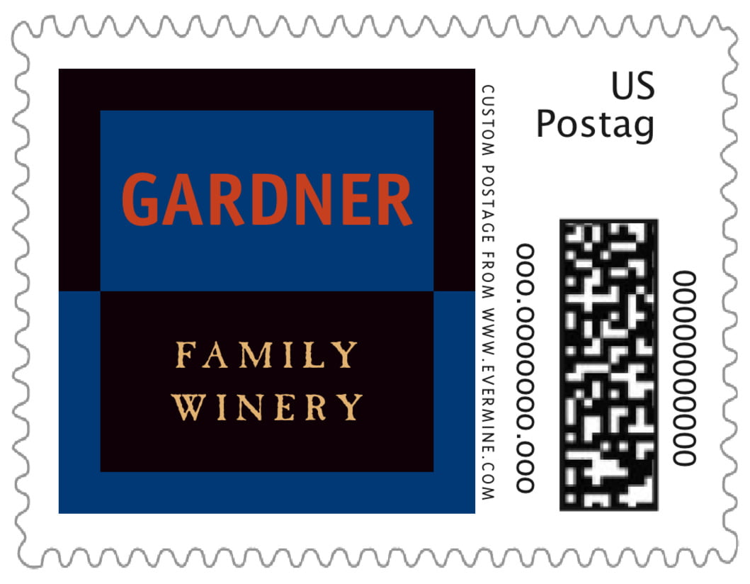 small custom postage stamps - blue, spice & black - urban (set of 20)