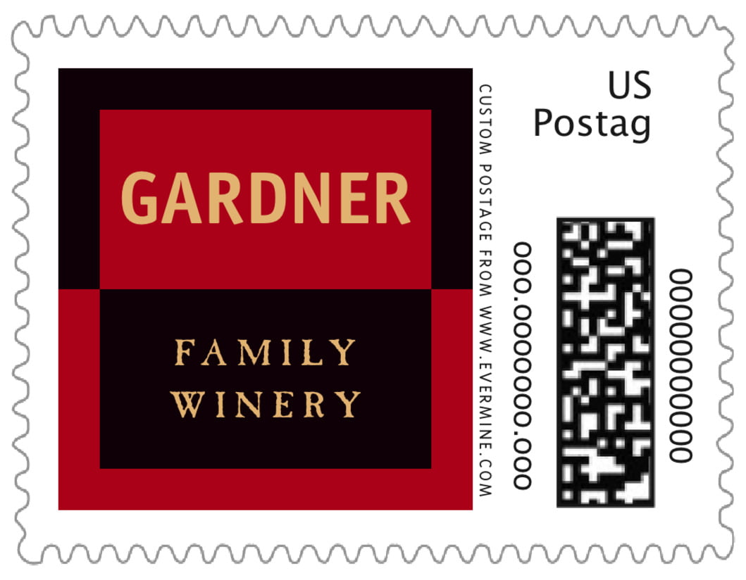 small custom postage stamps - red, black & gold - urban (set of 20)