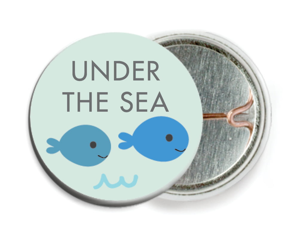 custom pin back buttons - sea glass - under the sea (set of 6)