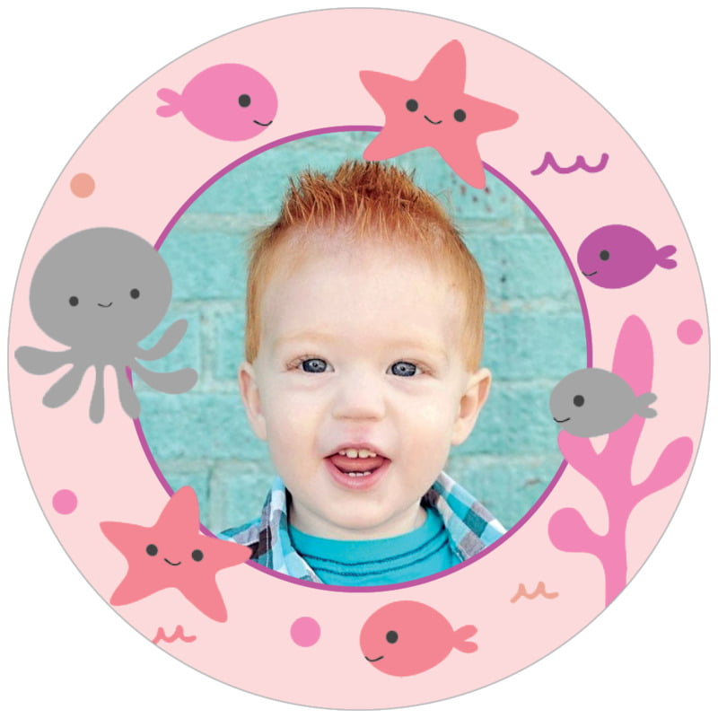 circle photo labels - pale pink - under the sea (set of 20)