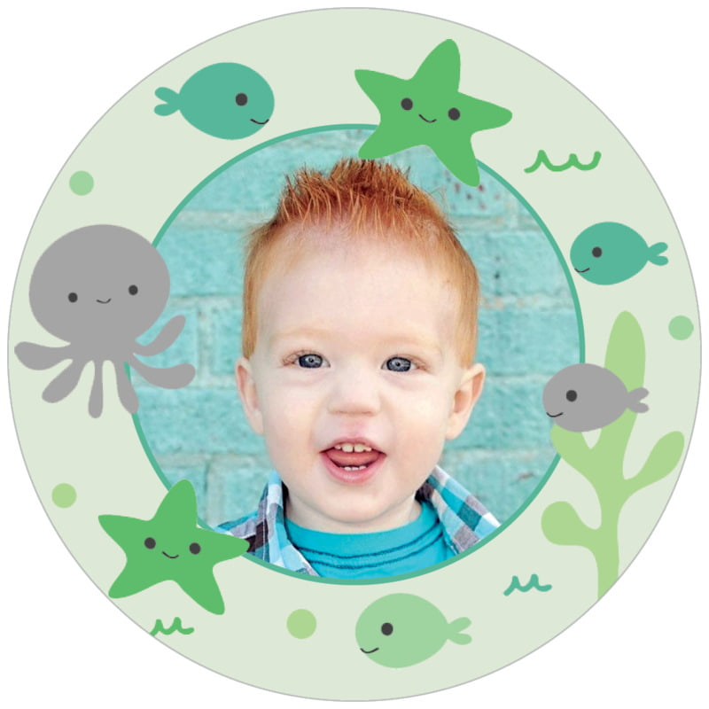 circle photo labels - mint - under the sea (set of 20)