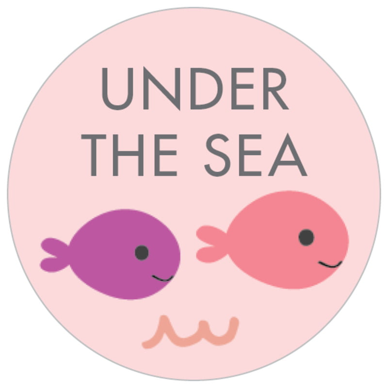 small circle food/craft labels - pale pink - under the sea (set of 70)