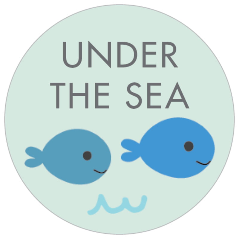 small circle food/craft labels - sea glass - under the sea (set of 70)