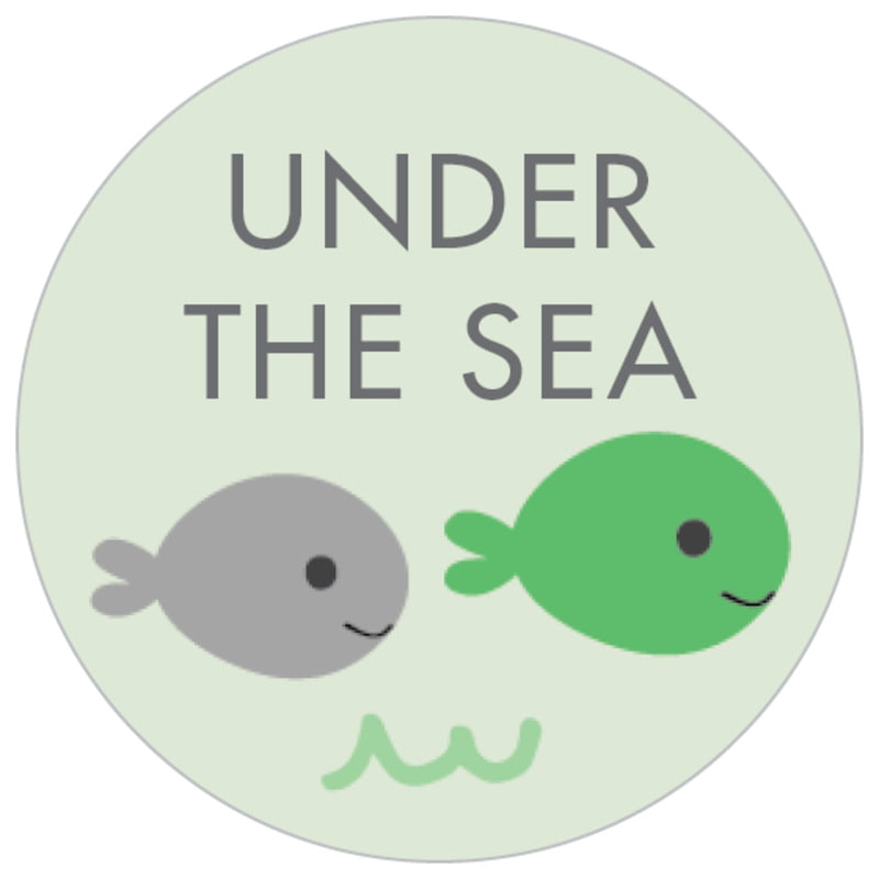 small circle food/craft labels - mint - under the sea (set of 70)