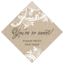 Burlap & Lace diamond hang tags