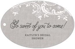 Burlap & Lace wide oval hang tags