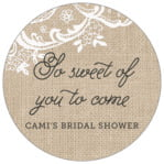 Burlap & Lace circle labels