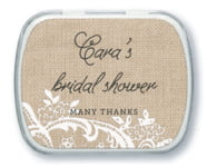 Burlap & Lace bridal shower mint tins